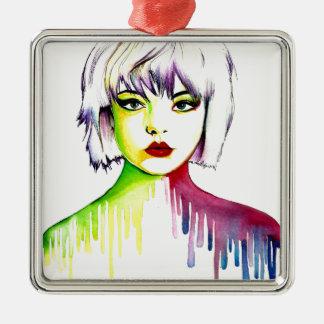 Vibrant and Colourful portrait art Silver-Colored Square Decoration