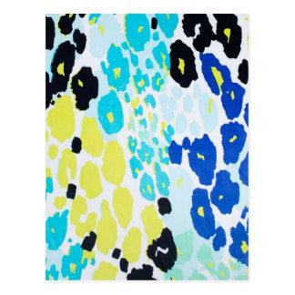 Vibrant Aqua Blue Lime Leopard Print Postcard