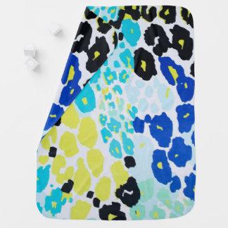 Vibrant Aqua Blue Lime Leopard Print Receiving Blankets