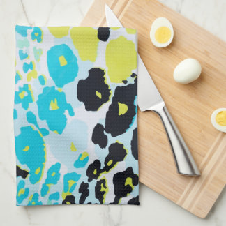 Vibrant Aqua Blue Lime Leopard Print Tea Towels