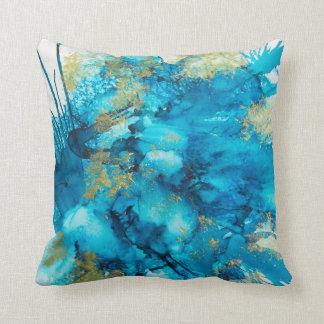Vibrant aqua throw pillow with original art