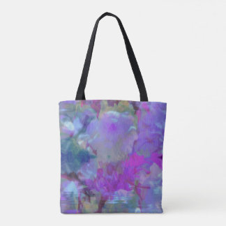 Vibrant Artistic Cherry Blossoms Water Ripples Tote Bag