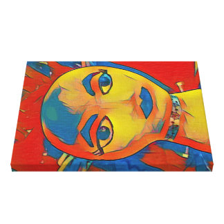 Vibrant Artistic Contemporary Mannequin Face Canvas Print