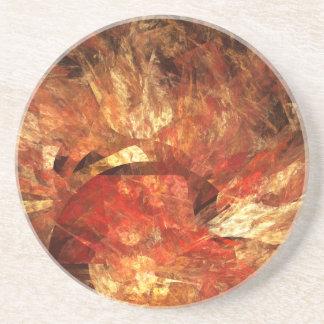 Vibrant Autumn Abstract Digital Fractal Coaster