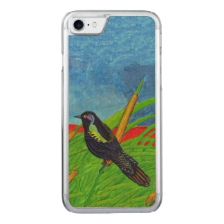 Vibrant Black Bird Tall Grass Carved iPhone 8/7 Case