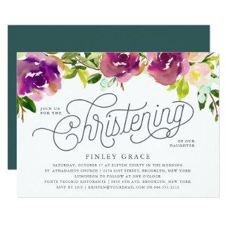 Vibrant Bloom Christening Invitation