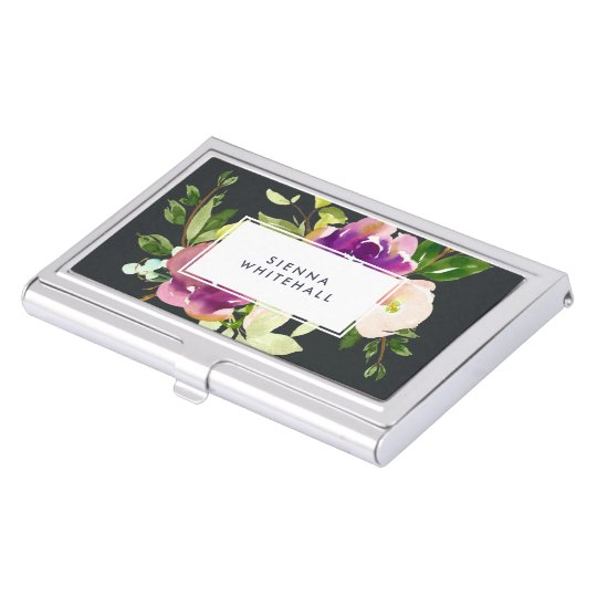 Vibrant Bloom | Personalised Watercolor Floral Business Card Holder