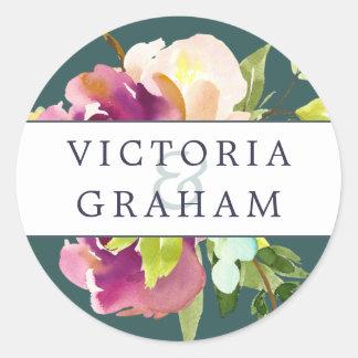 Vibrant Bloom Personalized Wedding Round Sticker
