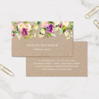 Vibrant Bloom | Rustic Kraft Floral Business Card