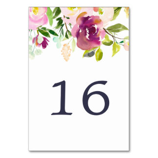 Vibrant Bloom Table Number Card