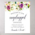 Vibrant Bloom Unplugged Wedding Ceremony Sign