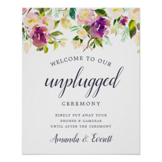 Vibrant Bloom Unplugged Wedding Ceremony Sign