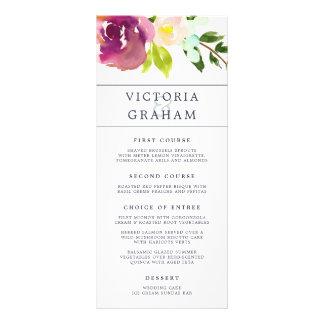Vibrant Bloom Wedding Menu Card
