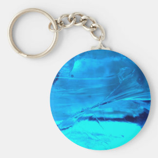 Vibrant Blue Crystal Geode Stone Print Basic Round Button Key Ring