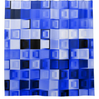 Vibrant Blue Cube Shower Curtain