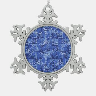 Vibrant Blue Digital Camo Camouflage Texture Snowflake Pewter Christmas Ornament