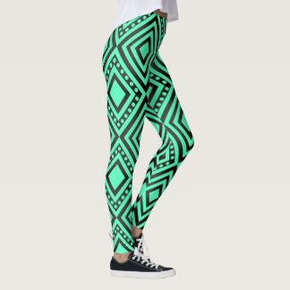 Vibrant Blue/Green Geometric Leggings