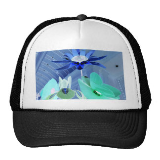 Vibrant Blue Green Neon Modern Pastel Floral Art Cap