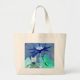 Vibrant Blue Green Neon Modern Pastel Floral Art Jumbo Tote Bag