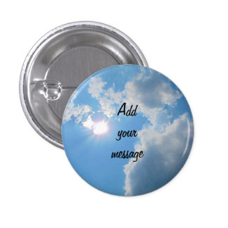 Vibrant blue sky with sun and clouds photo 3 cm round badge