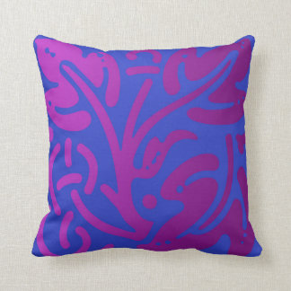 Vibrant Blues and Purple Leaf Throw Pillow