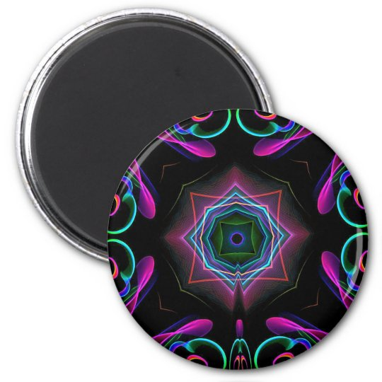 Vibrant Bright Colourful Neon Abstract 6 Cm Round Magnet