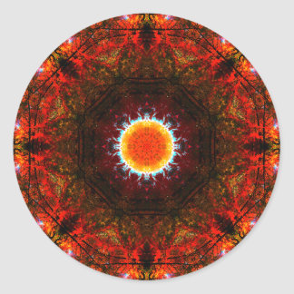 Vibrant Burning Core Mandala Classic Round Sticker
