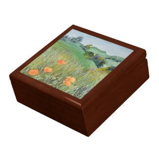 Vibrant California Poppy Watercolor Keepsake Box