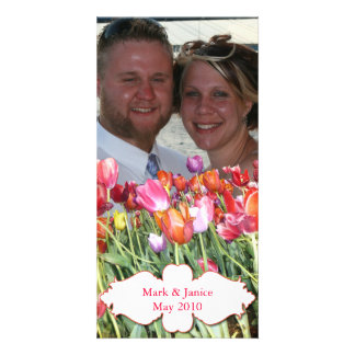 Vibrant Chicago Tulips Photocard Personalized Photo Card