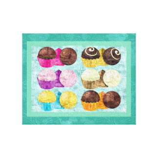 Vibrant Chocolate Truffles Oil Painting Canvas Print