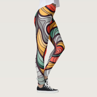 Vibrant color abstract leggings