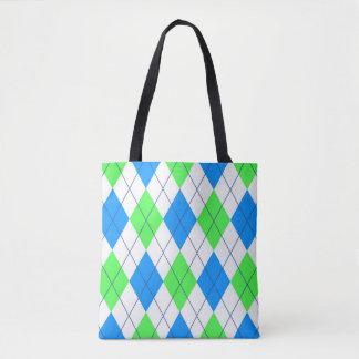 Vibrant color argyle pattern tote bag