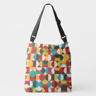 Vibrant color half circles pattern crossbody bag
