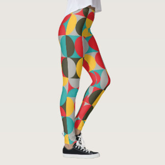 Vibrant color half circles pattern leggings