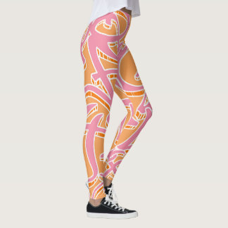 Vibrant colored abstract pattern leggings