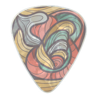 Vibrant colored abstract pattern pearl celluloid guitar pick