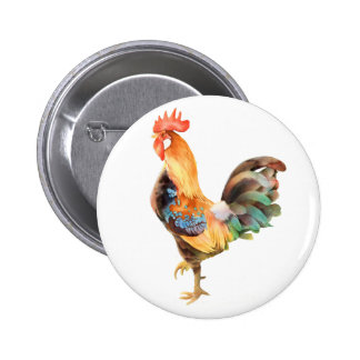 Vibrant colored Rooster 6 Cm Round Badge