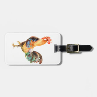 Vibrant colored Rooster Luggage Tag