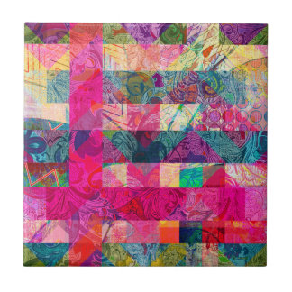 Vibrant Colorful Abstract Pink Plaid Funky Pattern Small Square Tile