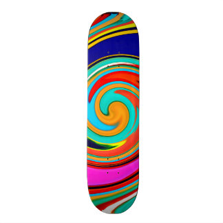 Vibrant Colorful Abstract Swirl of Melted Crayons Skateboard Decks