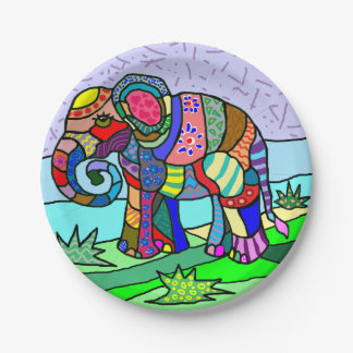 Vibrant colorful artistic folk art elephant paper plate