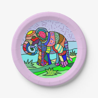 Vibrant colorful beautiful folk art elephant paper plate