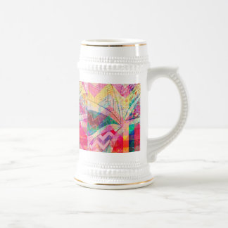Vibrant Colorful Funky Abstract Girly Butterfly Ch Beer Stein