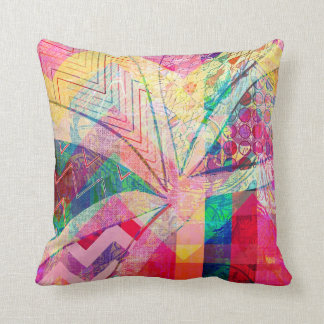 Vibrant Colorful Funky Abstract Girly Butterfly Ch Throw Pillow