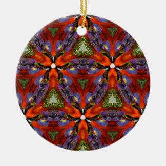 Vibrant Colorful Funky Kaleidoscope Pattern Round Ceramic Decoration