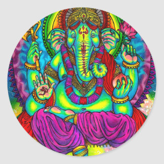 Vibrant Colorful Ganesh Painting Classic Round Sticker