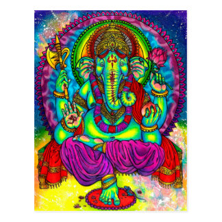 Vibrant Colorful Ganesh Painting Postcard