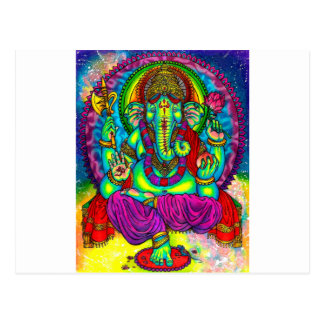 Vibrant Colorful Ganesh Painting Postcards
