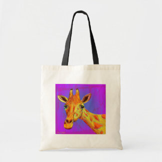 Vibrant Colorful Giraffe in Orange and Yellow Budget Tote Bag