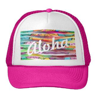 Vibrant Colorful Painted Brush Stripes Hawaiian Cap